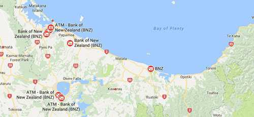 BNZ ATMs in Bay of Plenty